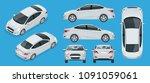 set of sedan cars. compact... | Shutterstock .eps vector #1091059061
