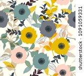 hand drawn summer pastel... | Shutterstock .eps vector #1091059331