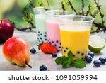 variety of homemade bubble tea... | Shutterstock . vector #1091059994