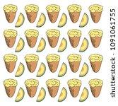 ice cream with melon flavor.... | Shutterstock .eps vector #1091061755