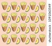 ice cream with melon flavor.... | Shutterstock .eps vector #1091063549