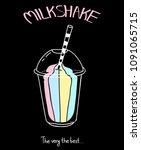 milkshake cartoon isolated on... | Shutterstock .eps vector #1091065715