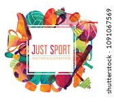 color sport background.... | Shutterstock .eps vector #1091067569