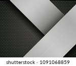 brushed metal plate on... | Shutterstock . vector #1091068859