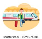 young refugee guy with baggage... | Shutterstock .eps vector #1091076701