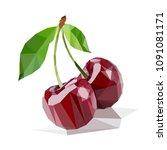 cherries polygonal vector | Shutterstock .eps vector #1091081171