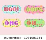 vector pixel art 8bit set of... | Shutterstock .eps vector #1091081351