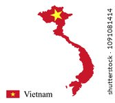vietnam map and flag   Shutterstock .eps vector #1091081414
