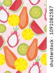 tropical fruit pattern | Shutterstock .eps vector #1091082587