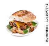 burger handmade with beef chop...   Shutterstock . vector #1091097941