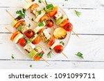 vegetarian grilling. vegetarian ... | Shutterstock . vector #1091099711
