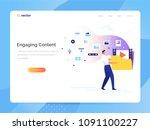 a man carries a large folder... | Shutterstock .eps vector #1091100227