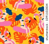 summer pattern design with... | Shutterstock .eps vector #1091102834