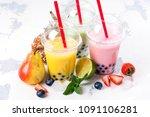 refreshing homemade iced milky... | Shutterstock . vector #1091106281