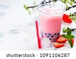 refreshing homemade iced milky... | Shutterstock . vector #1091106287