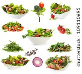Collection Of Salads  Isolated...