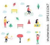 people at park resting and... | Shutterstock .eps vector #1091111267
