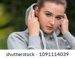 beautiful girl teenager female... | Shutterstock . vector #1091114039