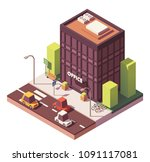 vector isometric modern office... | Shutterstock .eps vector #1091117081