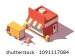 vector low poly shop and truck... | Shutterstock .eps vector #1091117084