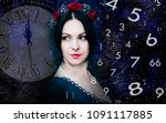 woman  numerology world and time | Shutterstock . vector #1091117885
