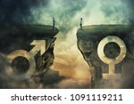 gender gap idea and sex... | Shutterstock . vector #1091119211