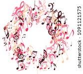wreath of musical signs. modern ... | Shutterstock .eps vector #1091121575