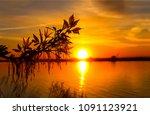 Sunset river horizon silhouette ...