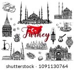 set of hand drawn sketch style... | Shutterstock .eps vector #1091130764