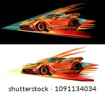 red sports car racing fairies... | Shutterstock .eps vector #1091134034