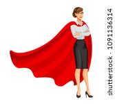 superhero woman in red cape ... | Shutterstock .eps vector #1091136314