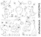 set of cute cartoon dinosaurs... | Shutterstock .eps vector #1091142941