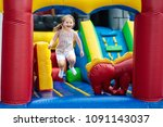 child jumping on colorful...   Shutterstock . vector #1091143037