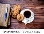 coffee break   notepad and pen...   Shutterstock . vector #1091144189