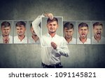 masked young man expressing... | Shutterstock . vector #1091145821