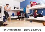 young positive travelers... | Shutterstock . vector #1091152901