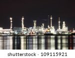 refinery plant area at night | Shutterstock . vector #109115921