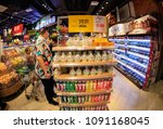 Small photo of May 15, 2018-NANCHANG CHINA: consumers purchase goods from all over the world in an imported supermarket, Nanchang, Eastern China. China has substantially cut import tariffs on some consumer goods.