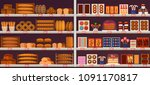sweets and bakery stall or... | Shutterstock .eps vector #1091170817