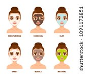 different types of facial masks ... | Shutterstock .eps vector #1091172851