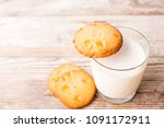 cookies and a glass of milk on ...   Shutterstock . vector #1091172911