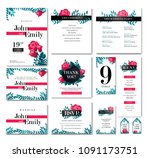 vector set of wedding design... | Shutterstock .eps vector #1091173751