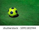 bright soccer football ball on... | Shutterstock . vector #1091181944
