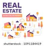 real estate color concept.... | Shutterstock .eps vector #1091184419