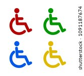 disabled icon in trendy flat... | Shutterstock .eps vector #1091187674