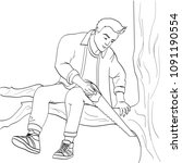 man sawing tree branch on which ... | Shutterstock . vector #1091190554