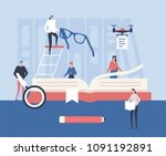 study and research   flat... | Shutterstock .eps vector #1091192891