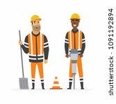 road construction workers  ... | Shutterstock . vector #1091192894