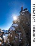 the aiguille du midi  3842m ... | Shutterstock . vector #1091198681