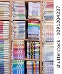 colorful turkish bath towels... | Shutterstock . vector #1091204237